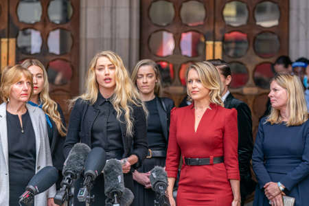 LONDON, ENGLAND - JULY 28, 2020: Amber Heard making a press statement outside the Royal Court of Justice in the Johnny Depp defamation libel Trial against The Sun Newspaper - 503