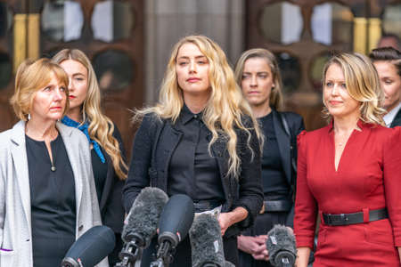 LONDON, ENGLAND - JULY 28, 2020: Amber Heard making a press statement outside the Royal Court of Justice in the Johnny Depp defamation libel Trial against The Sun Newspaper - 567