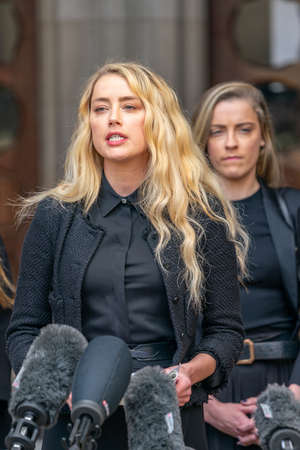 LONDON, ENGLAND - JULY 28, 2020: Amber Heard making a press statement outside the Royal Court of Justice in the Johnny Depp defamation libel Trial against The Sun Newspaper - 524