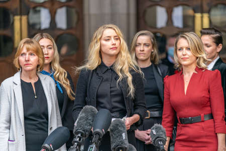 LONDON, ENGLAND - JULY 28, 2020: Amber Heard making a press statement outside the Royal Court of Justice in the Johnny Depp defamation libel Trial against The Sun Newspaper - 539