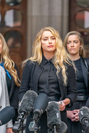 LONDON, ENGLAND - JULY 28, 2020: Amber Heard making a press statement outside the Royal Court of Justice in the Johnny Depp defamation libel Trial against The Sun Newspaper - 513