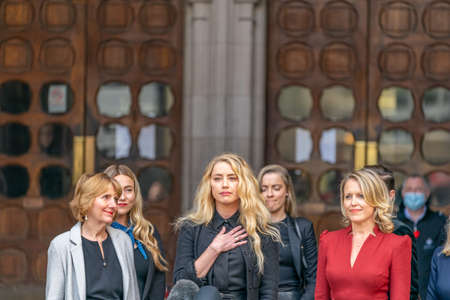 LONDON, ENGLAND - JULY 28, 2020: Amber Heard making a press statement outside the Royal Court of Justice in the Johnny Depp defamation libel Trial against The Sun Newspaper - 631