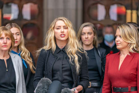 LONDON, ENGLAND - JULY 28, 2020: Amber Heard making a press statement outside the Royal Court of Justice in the Johnny Depp defamation libel Trial against The Sun Newspaper - 491