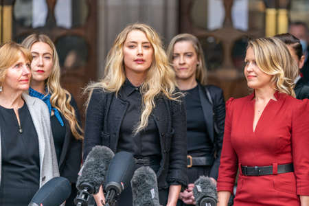 LONDON, ENGLAND - JULY 28, 2020: Amber Heard making a press statement outside the Royal Court of Justice in the Johnny Depp defamation libel Trial against The Sun Newspaper - 594