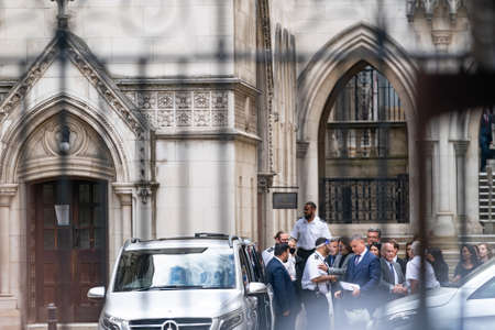 LONDON, ENGLAND - JULY 28, 2020: Johnny Depp smiling within the secure area of the Royal Court of Justice getting ready to leave his defamation libel Trial against The Sun Newspaper - 962