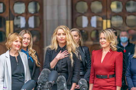 LONDON, ENGLAND - JULY 28, 2020: Amber Heard making a press statement outside the Royal Court of Justice in the Johnny Depp defamation libel Trial against The Sun Newspaper - 638