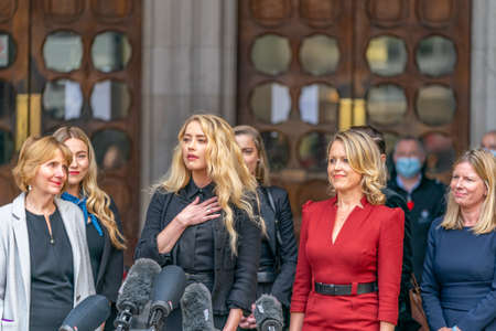LONDON, ENGLAND - JULY 28, 2020: Amber Heard making a press statement outside the Royal Court of Justice in the Johnny Depp defamation libel Trial against The Sun Newspaper - 635