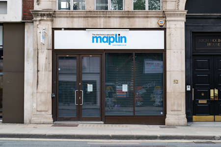 LONDON, ENGLAND - JULY 24, 2020: Maplin electronic store branch at Holborn, London closed during the COVID-19 pandemic and following its financial collapse - 081