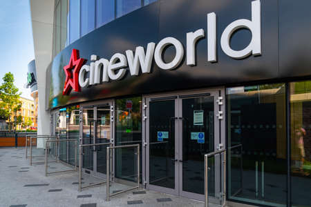 LONDON, ENGLAND - JUNE 26, 2020: Cineworld Cinema in South Ruislip, London, England closed during the COVID-19 pandemic - 042