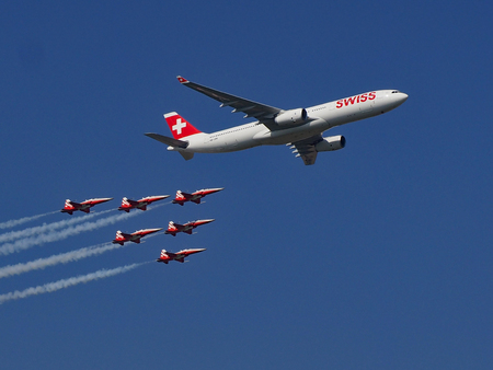 Airbus A-330 with 6 Tiger F-5 Tiger II on Air14