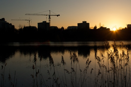 Dusk over a quiet city lake with reed and tower cranes in the background photo