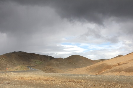 Lonely road between Kafla mountains, Iceland