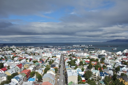 Scenic view from Halgrimsjirkja church down on the city of Reykjavik, capital of Iceland
