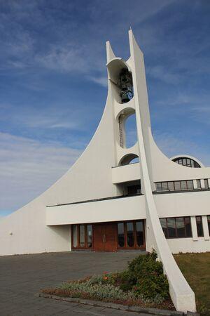 Modern church building of Stykkisholmur on Iceland