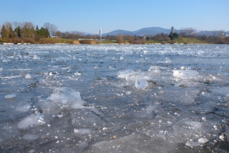 Closeup shot of the frozen Freiburg Seepark lake with church and tower hill Stock Photo - 15445001