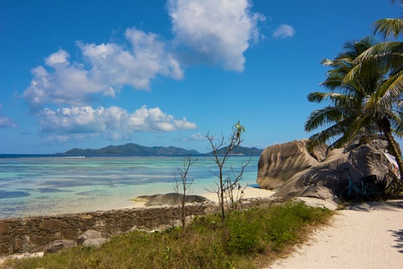 d argent: Tropical scenery with granite rocks, palm trees and a bike close to Source d