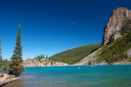 Canoes on amazing Moraine Lake Stock Photo