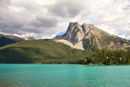 View on beautiful Emerald Lake at dusk photo