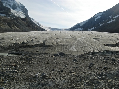 Panoramic view along Athabasca Glacier on Icefields Parkway, Alberta, Canada photo