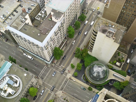 aerial: View onto Vancouver city centre from high above