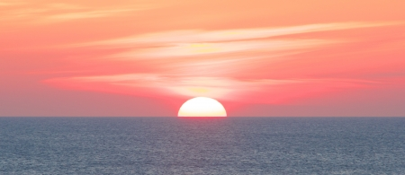 Amazing sunset over the German North Sea, shot from the shores of Sylt island