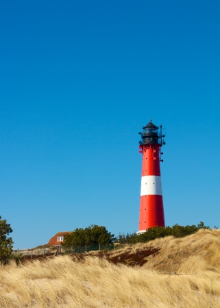 Small lighthouse against a clear blue sky with a dune full of beach grass photo