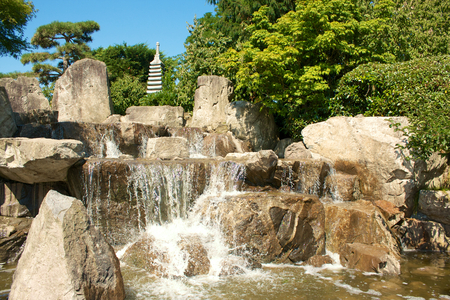 freiburg: Cascades in the Japanese gardens of Freiburg Seepark, Germany