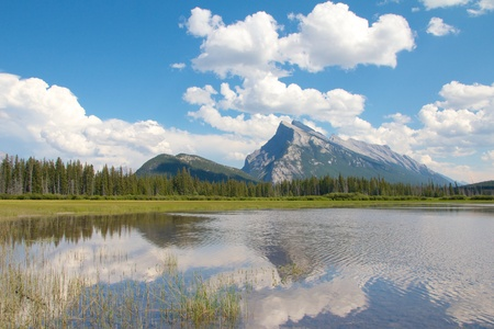 View on beautiful Vermillion Lakes near Banff, Alberta, Canada, with the Canadian Rocky Mountains in the background Stock Photo