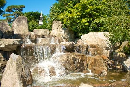 seepark: Cascades in the Japanese gardens of Freiburg Seepark, Germany