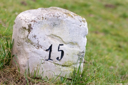 Closeup shot of a white milestone on the roadside photo