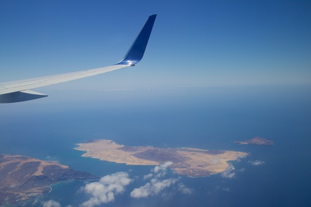 Aerial view from an airplane onto Lanzarote and La Graciosa islands, Spain Stock Photo - 27838702