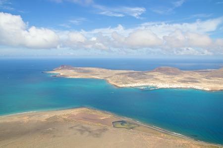 mirador: Aerial view from Mirador del Rio onto Isla la Graciosa, Lanzarote, Spain Stock Photo