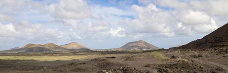Volcanic landscape and lava stone desert of Lanzarote island, Spain Stock Photo
