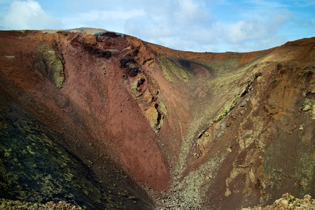 timanfaya: Fire mountains and barren volcanic lava landscape in Timanfaya national park, Lanzarote island, Spain