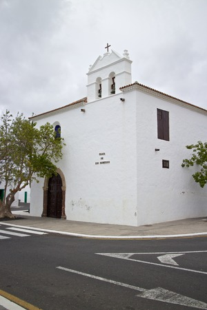 guadalupe island: Old church and square of Yaiza, Lanzarote island, Spain