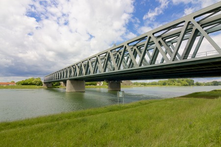 Modern steel bridge across the River Rhine, Germany photo