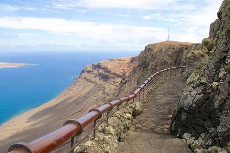 mirador: Amazing view on the volcanic coastline and Isla Graciosa from Mirador del Rio vista, Lanzarote, Spain