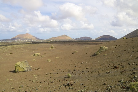 Volcanic landscape and lava stone desert of Lanzarote island, Spain Stock Photo - 28341737