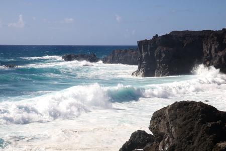 los hervideros: Wild sea and volcanic lava rocks at the Los Hervideros west coast of Lanzarote island, Spain