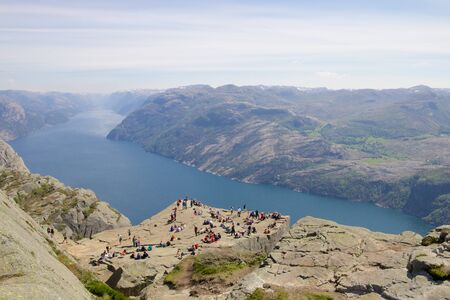 View over the world famous Preikestolen - or pulpit rock - over the Lysefjord, Norway photo
