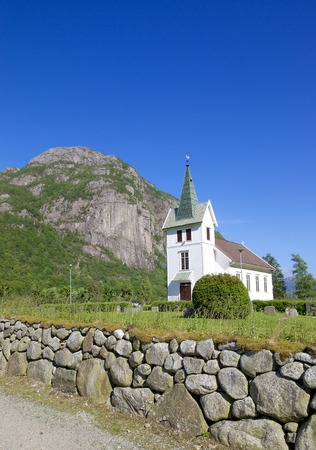 Beautiful wooden Dirdal church in the Gjesdal area, Norway Stock Photo
