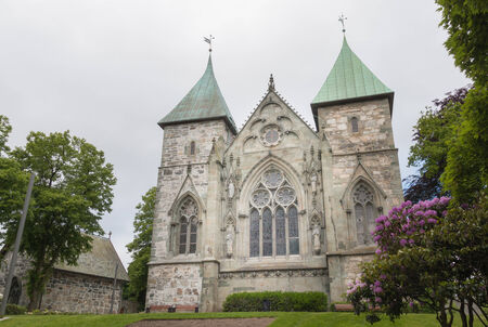 Exterior of the famous Stavanger Domkirke, a medieval cathedral in Stavanger city, Norway