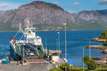 Ferry arriving in Lauvik, Norway, after a short trip on the Lysefjord photo