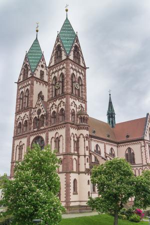 freiburg: Famous 19th century Herz-Jesu Church (Heart of Jesus Church) in Freiburg, Germany