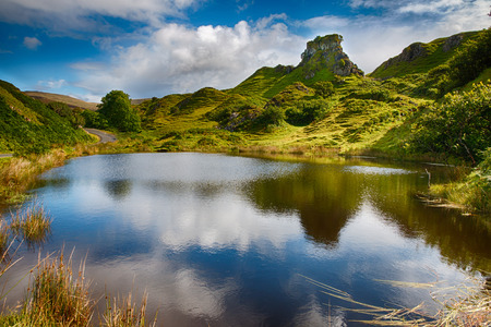 Mystic Fairy Glen, a romantic green valley with strange stone structures on the Isle of Skye, Scotland, HDR Version Stockfoto