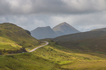 ranges: View along A835 highway winding through the Scottish Highlands