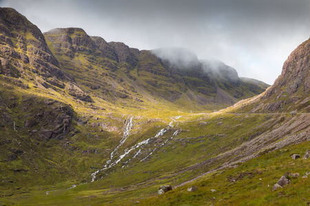 View into the misty Highlands and over the plains next to Loch Kishorn, Scotland Standard-Bild
