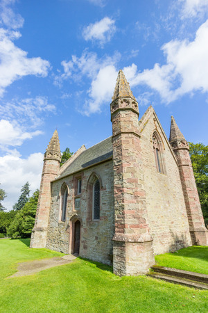 stone of destiny: Chapel on Moot Hill, next to famous Scone Palace, where all Scottish kings and queens have been crowned at the Stone of Destiny Editorial