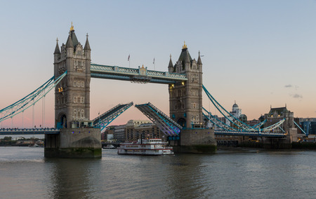 View on world famous London Tower Bridge shortly before sunset on a clear late summer evening
