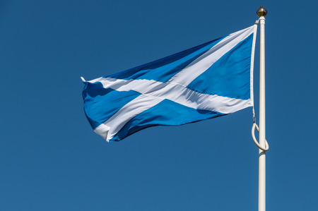 flapping: Proud flag of Scotland flapping in the chilly winds of the Highlands